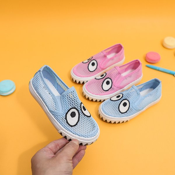 Caminhadas Casuais das crianças Bonito Olhos Calçados Esportivos Menino Menina Praia Oco Respirável Meninas Tênis de Corrida Sandálias Net Sapatos