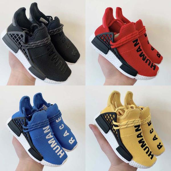 2019 Cute Baby Scarpe per bambini Human Race Scarpe da running Girl Boy Scarpe da ginnastica Pharrell Williams Sports Sneakers per bambini Giallo Nero Blu Rosso