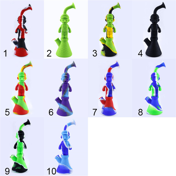 Silicone Water Pipes Mario Silicon Bubbler Bong Recycler Dry Herb Dab Wax Rig Tobacco Smoking Oil Burner Pipes With 14mm DHL