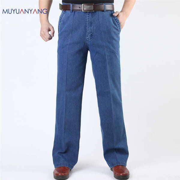 Mu Yuan Yang Jeans Man Middle-aged Denim Jeans Casual Middle Waist Loose Long Pants Male Straight Jeans Classical Big Size 40 42 Y19060501