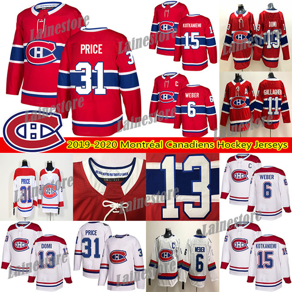 top popular Montréal Canadiens Jersey 6 Shea Weber 31 Carey Price 15 Jesperi Kotkaniemi 11 Brendan Gallagher 13 Max Domi Hockey Jerseys 2020