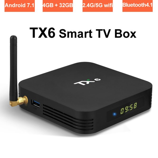 Android 9.0 Smart TV Box Allwinner H6 Quad Core 4GB 32GB Dual Band Wifi 2.4G/5G Bluetooth Media Player 4K Ultra HD Set Top Boxes TX6 TVbox