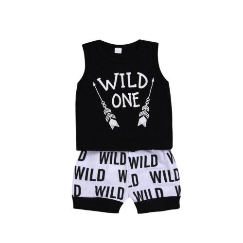 Hot Cute 2pcs Toddler Kids Baby Boys Letter Arrow T-shirt Tops+Letter Pants Summer Sets
