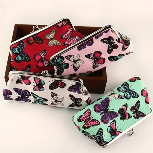 bags for Women Coin Purse Cute Wallet Lady Retro Vintage Butterfly Small Wallet Hasp Purse Kawaii Bag Clutch Bag 2.41*3