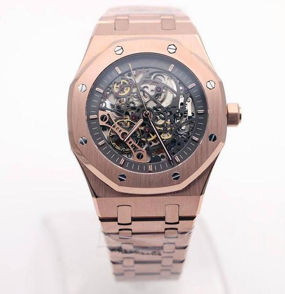 15407ST Royal High Quality esqueleto automático hueco 18K oro rosa Super Oak 01 reloj para hombre Entrega gratuita