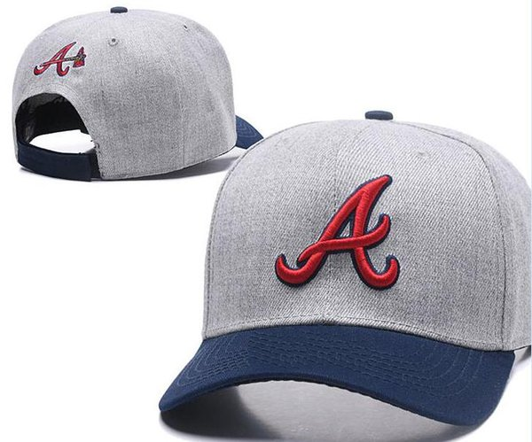 Hot Selling On Field Braves hat Top Quality flat Curved Brim strapback embroiered Letter A Team fans baseball Hats Snapback Chapeu 04