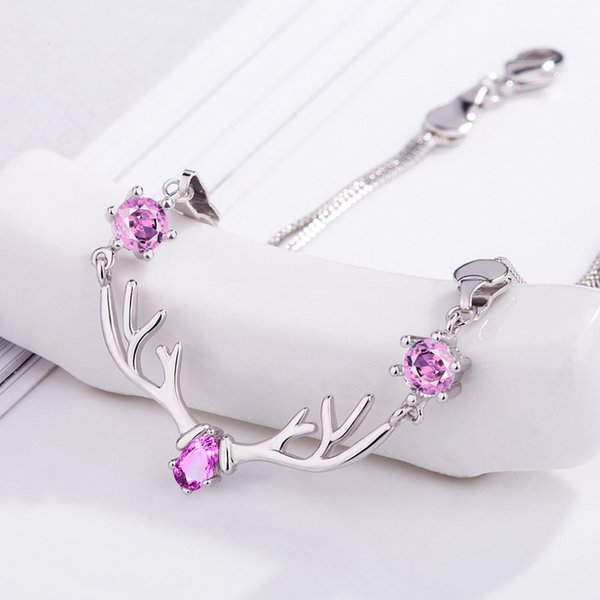 New 925 Silver Deer Antler Bracelets Crystal Deer Head Bracelet Female Simple Korean Edition Student Jewelry Bracelet Birthday