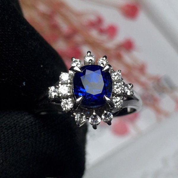 Fine Jewelry Pt900 Real Platinum Gold 100% Natural Blue Sapphire 1.45ct Gemstones Sapphire Diamonds Female Wedding Rings