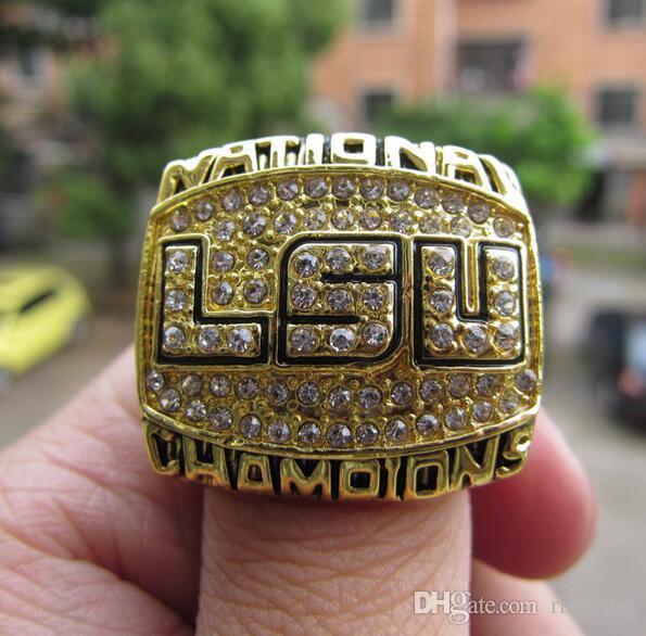 NCAA 2003 Louisiana State Tigers championship ring с деревянной коробкой дисплея вентилятор подарок Оптовая перевозка груза падения