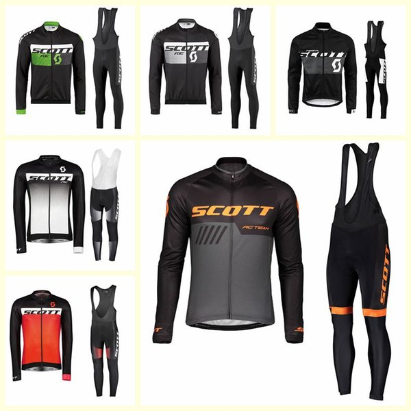 SCOTT team Cycling long Sleeves jersey bib pants sets New Breathable Men Spring Autumn Ropa Maillot Ciclismo U120919
