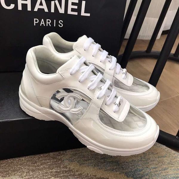 6de49d4cb Acheter Nouveau Luxe Designer Mens Casual Chaussures Low Cut Transparent  Baskets Superstars Mode Classique Femmes Appartements Chaussures Couple ...