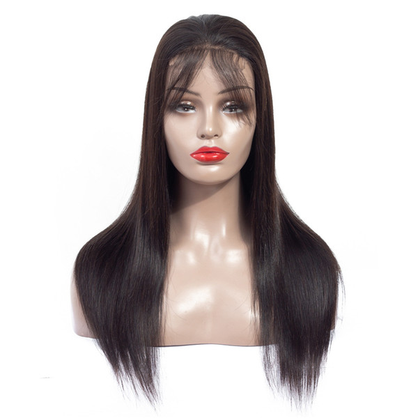 Human Hair Lace Front Wigs Brazilian Virgin Straight Hair 4x4 Lace Closure Wig with Bangs for Black Women Glueless 10-24 Inch 180% Density