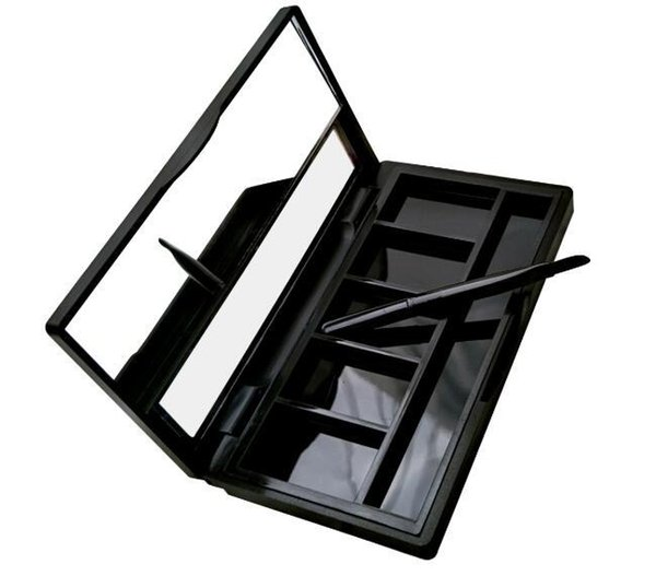 Empty black 5 Grids Powder Compact Eyeshadow Case Lipstick Container DIY Blush Box with Brush