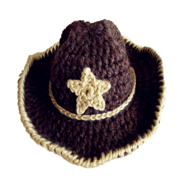 Super Cool Handmade Knit Crochet Baby Boy Girl Cowboy Hat,Baby Shower Gift,Funny Cap with Star,Infant Newborn Photo Prop