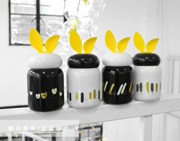 Thermos Hot Water Bottle Vacuum Flasks Thermocup Cute Rabbit Ears 210ML Stainless Steel Mug Anti-Fall Kettle Children Women