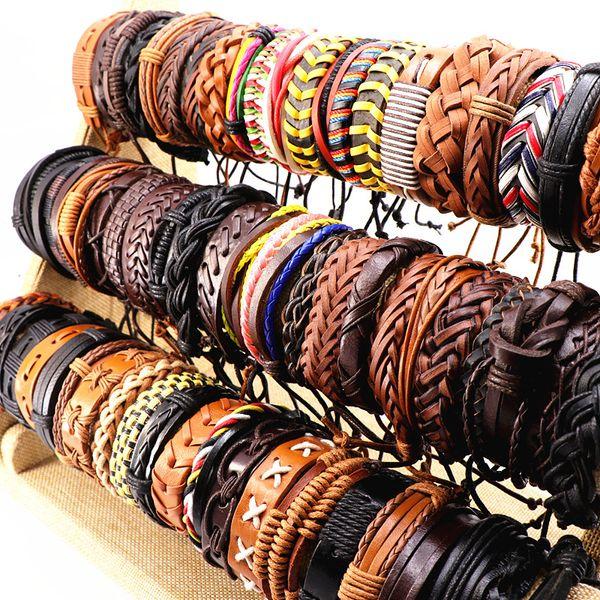 top popular Vintage Black Brown Coffee Mens Womens Leather Surfer Wrist Cuff Bangle Bracelets Jewelry (Size adjustable) Wholesale 2021