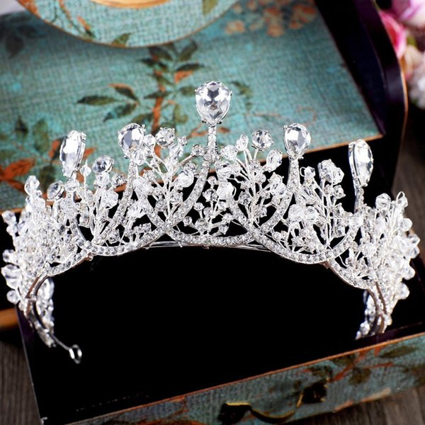 Baroque Sparkling Silver Crystal Big Rhinestone Wedding Crown Headband Bridal Tiara Party Show Pageant Hairband Hair Accessories C18112001