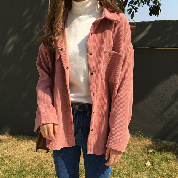 2 Colors 2018 Spring And Autumn Loose Shirts Korean Solid Blouse Long Sleeve Corduroy Blouses Women Tops Outwear Coats C6016 MX190712