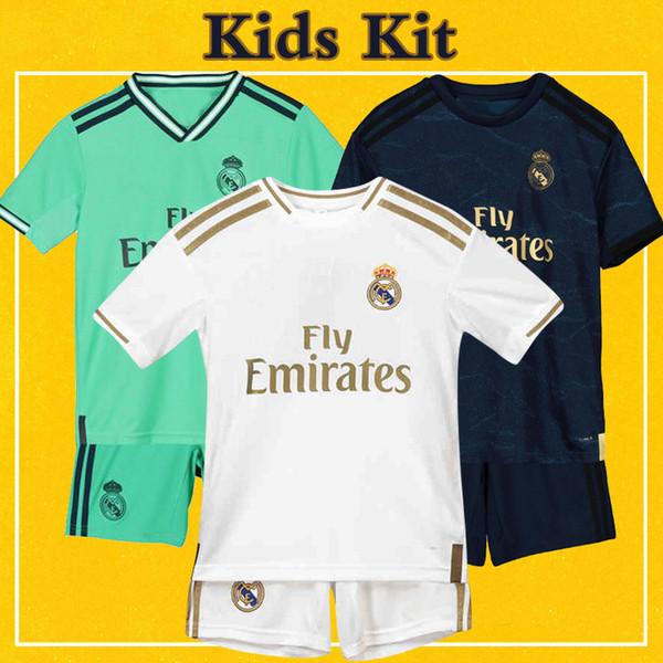 Real Madrid Kids Kit Soccer Jersey 2020 Local Visitante Tercer portero Niño 19 20 BENZEMA DE PELIGRO Uniformes de fútbol infantil con calcetines