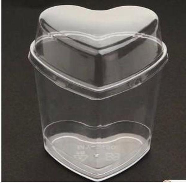 Kapak jöle Pasta araçları ile kalp şekli Lamy tek kullanımlık plastik kap puding kalıp kap 20pcs köpüğü / çok serbest gönderim