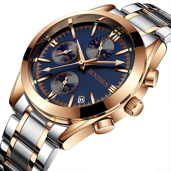 Yüksek Kaliteli Chronograph erkek Saatler Adam Bilek İzle Saat En İş Erkekler Için Kuvars Çelik Erkekler Saatler İzle