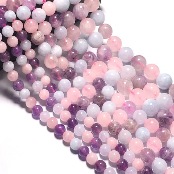 6/8/10 mm Madagascar naturale quarzo rosa / acquamarina / perle di pietra ametista perle tonde di colore sciolto perline di pietra per fare gioielli