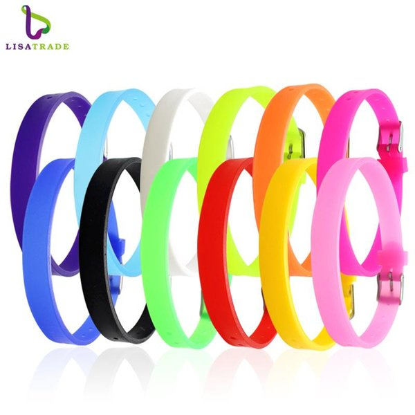 8 MM Silikon Armband Armbänder Mix Farbe (100 teile / los) DIY Zubehör Fit Slide Letter / Diacharme LSBR09 * 100