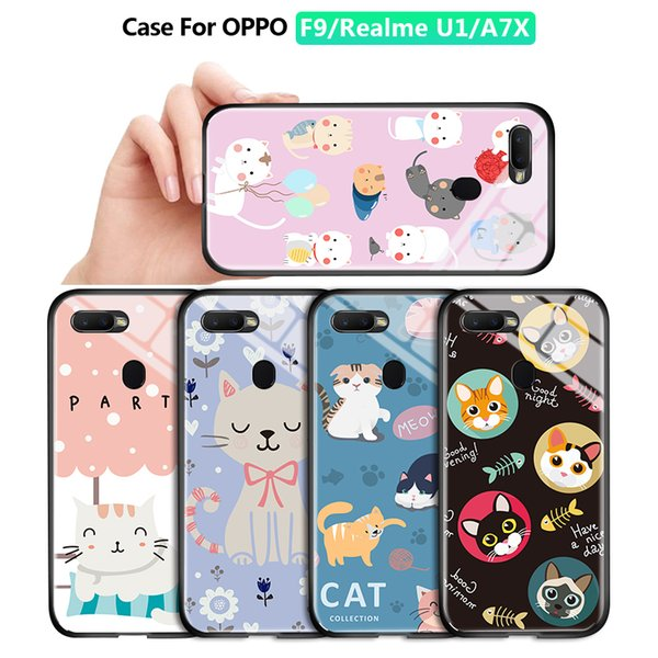 For OPPO F9 Realme U1 A7X F9 Pro Luxury Lovely Girls Cartoon Cat Pet Casing Phone Case Shockproof Tempered Glass Back Cover