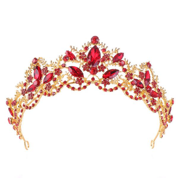 Roter Kristall Braut Hochzeit Tiaras Kronen Königin Tiara Braut Krone Stirnband Brautschmuck Diadem Haarschmuck Ornamente LB