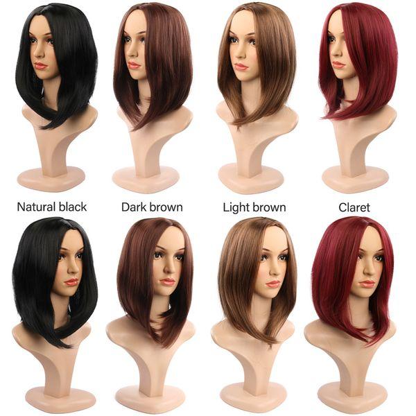 Amir recta Negro sintético pelucas con flequillo para las mujeres longitud media de pelo Bob peluca de calor Bobo resistente a las pelucas de Cosplay Peinado