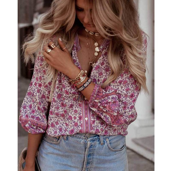Boho Inspired Blouse Women Pink Floral Blossom Shirts Button-down Long Sleeve V-neck Casual Summer Top Female Blusas 2019 New Y19062501