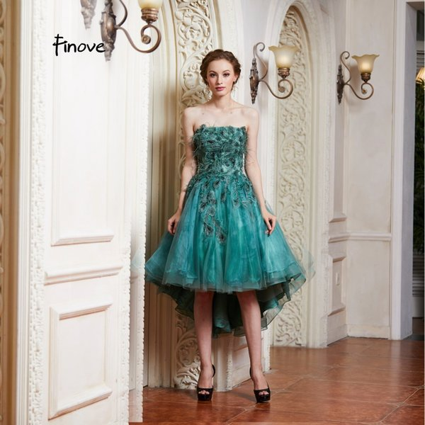 Finove prom dre 2019 long ve tido de fie ta emerald green chic knee length applique feather traple formal party dre, Black