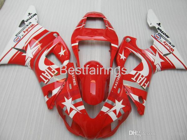 ZXMOTOR Free custom fairing kit for YAMAHA R1 1998 1999 white red fairings YZF R1 98 99 HG35