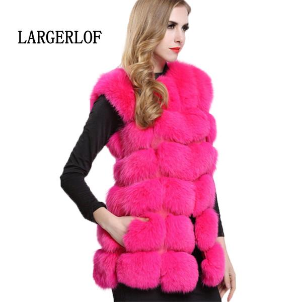 LARGERLOF Faux Fur Vest 2019 Fashion Faux Fox fur Gilet Red Pink Coat Women Winter 2018 Vests For Women VT57001