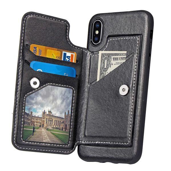 Lusso flip portafoglio in pelle sintetica slot per schede magnetiche supporto del basamento copertura della cassa del telefono per iPhone 6 7 8 Plus 10 X XS