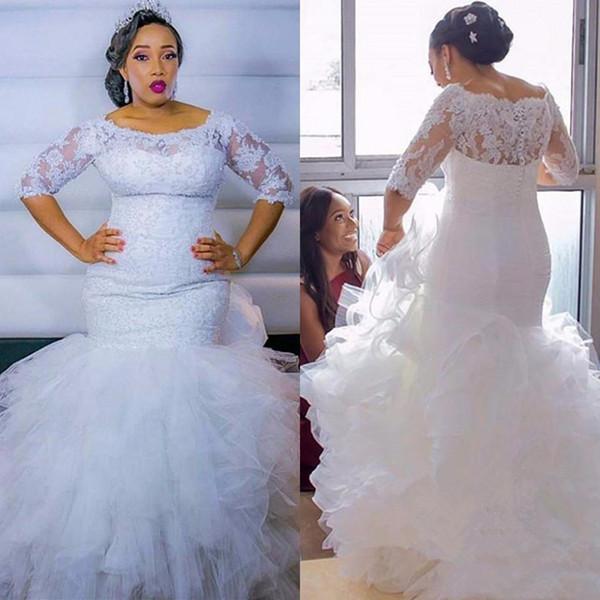 Robe De Mariage Sirena africana tallas grandes Vestidos de novia 2019 Media manga de encaje con gradas en cascada de volantes Falda Vestidos de novia
