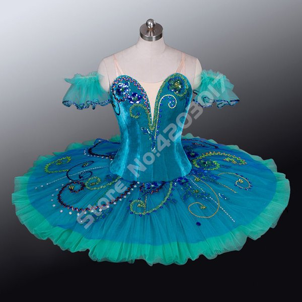 Adult Child Professional Ballet Tutus Green Fairy Peformance Stage Pancake Tutus Girls Dance Costumes Dancewear Women B1156