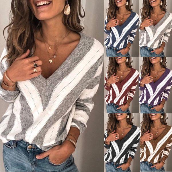 european and american women's sweater popular v-neck stripe t-shirt