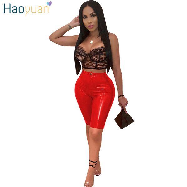 5618dd0e5d 2019 HAOYUAN PU Leather Sexy Shorts Women Fashion High Waist Faux Leather  Biker Shorts Streetwear Push Up Knee Length Short Pants From Cailey, $28.11  ...