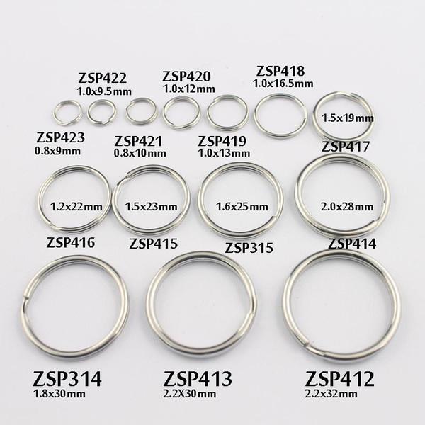 anillo de cadena dominante 9mm / 9.5mm- / 10mm / 12mm / 13 / 16.5-32mm split de doble bucle de acero inoxidable puede mezclar joyas DIY 100pcs-500pcs / lot ZSP412-ZSP423