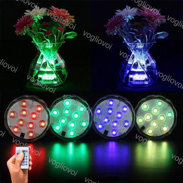 LED Submersible RGB Candle Floral tea Light Flashing Waterproof Wedding PartyVase Decoration Lamp Hookah Shisha Accessories EUB