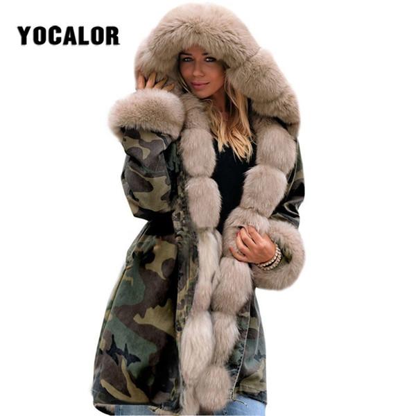 gran venta 95d3f c1382 Compre Camuflaje Cálido Chaqueta De Invierno Para Mujer Abrigo De Piel  Sintética Largo Parka Mujer Tallas Grandes Manteau Femme Sombrero Prendas  De ...