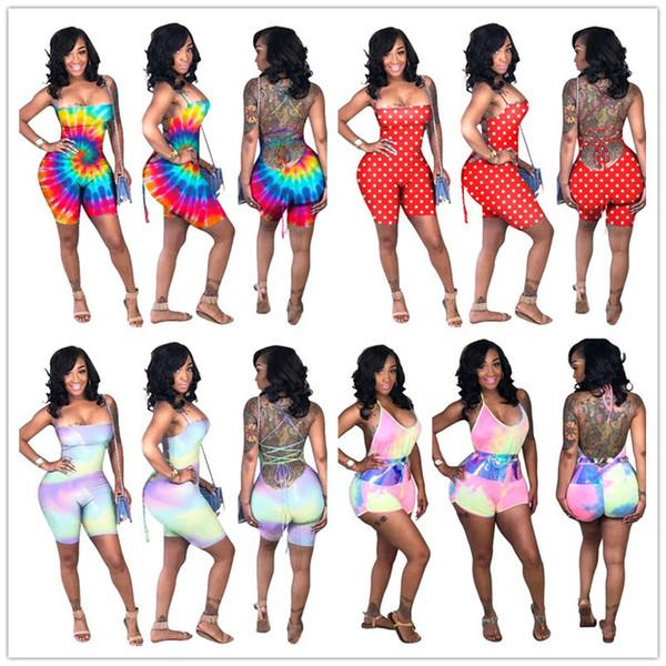 Tute da donna Dot Rainbow T-shirt con stampa tinta unita PANTALONI SQUALI Schiena senza maniche Tuta aderente Pantaloncini Backless Clubwear A41701