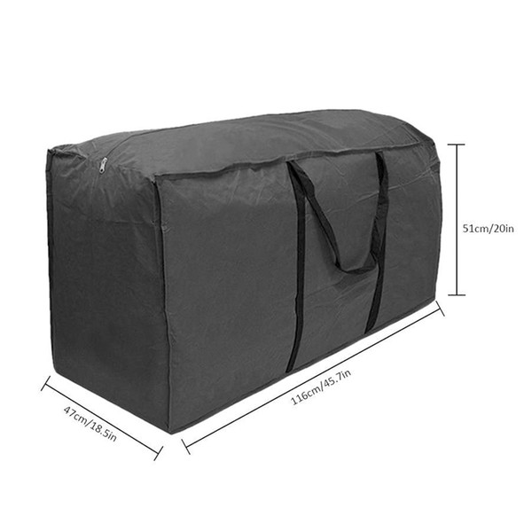 Multi-function Garden Furniture Storage Bag Cushions Upholstered Seat Protective Cover Large Capacity Storage Bags Big Black Bag