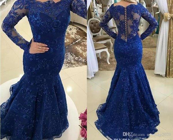Royal Blue Lace Mermaid Evening Dresses Long Sleeve Lace Beaded Appliques Button Back Special Occasion Dresses Charming Prom Dresses