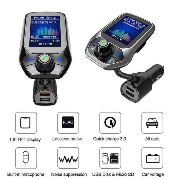T43 Bluetooth Auto Trasmettitore FM Kit per auto Music Player Kit Card Caricabatteria per auto Rapido con QC3.0 Doppio voltmetro USB AUX IN / OUT DC 12 / 24V