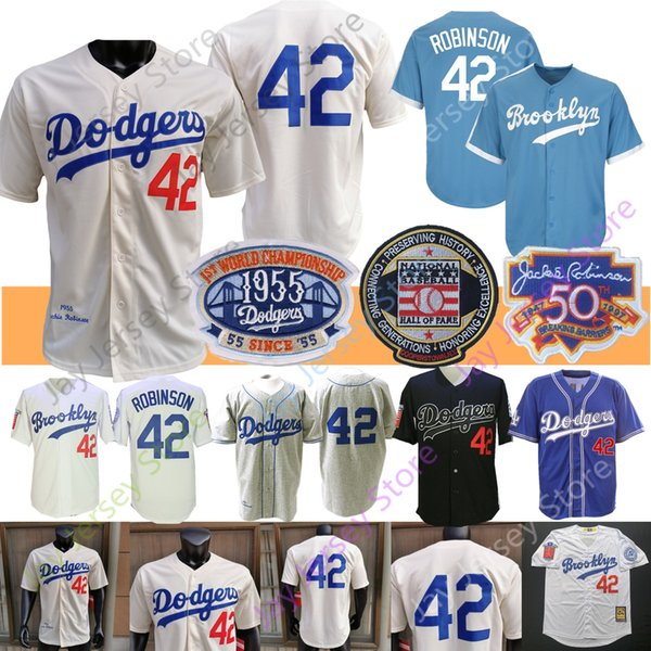 best selling Jackie Robinson Jersey Coopers-town 1955 Hall Of Fame Brooklyn Blue WHite Grey Cream Home Away Men Size M-3XL All Stitched