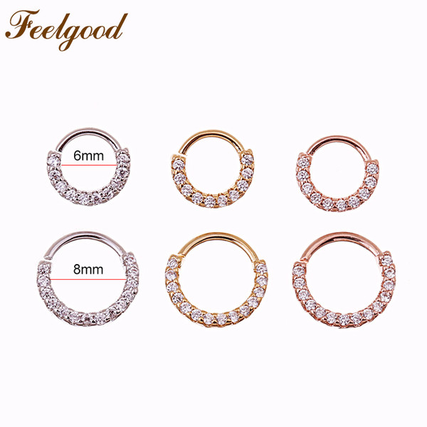 wholesale 10pcs/lot 6mm And 8mm Septum Piercing Jewelry Cz Hoop Nose Ring Tragus Helix Ear Cartilage Daith Earrings Wholesale
