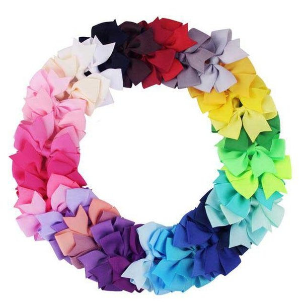 Popular 40 Colors Girl BB Hair Bows Candy Colors 3.15 inch Bow Design Girl Clippers Girls Hair Clips Hair Accessory