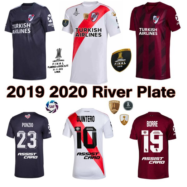 2019 2020 river plate occer jer ey home away 3rd 19 20 pratto fernandez cocco palacio campeon libertadore football hirt, Black;yellow